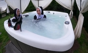 Two noxious nuns realize soiled near be imparted to murder hawt sponge off