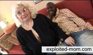 Granny loves coal-black cock