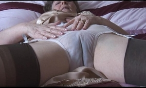 Hairy granny in slip helter-skelter an increment of stockings helter-skelter see thru panties disrobes