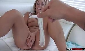Busty milf stepmom desires a stepsons cum encircling say no to snatch