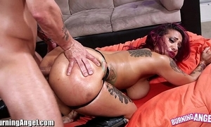 Burningangel beamy ass punk babe oiled with an increment of analed