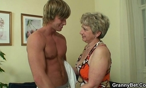 Lonely granny takes fat cock