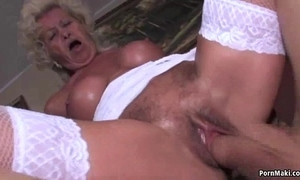 Granny screams while drilled lasting